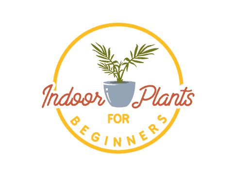 Indoor plants for beginners circle logo that resembles a penny with a potted plant in the center of it
